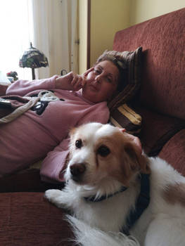 My mom with my dog