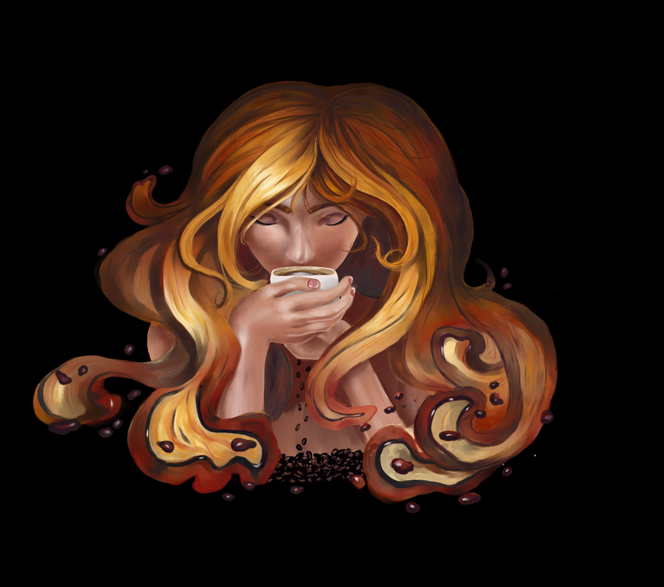 Girl With Coffee by SallyTrivone