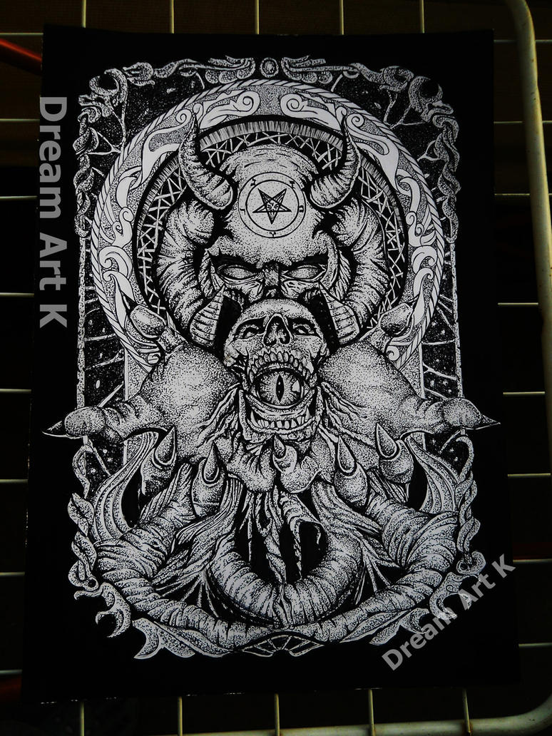 satan dotwork by DreamArtK