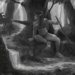 Elven Amazon (greyscale ver.)