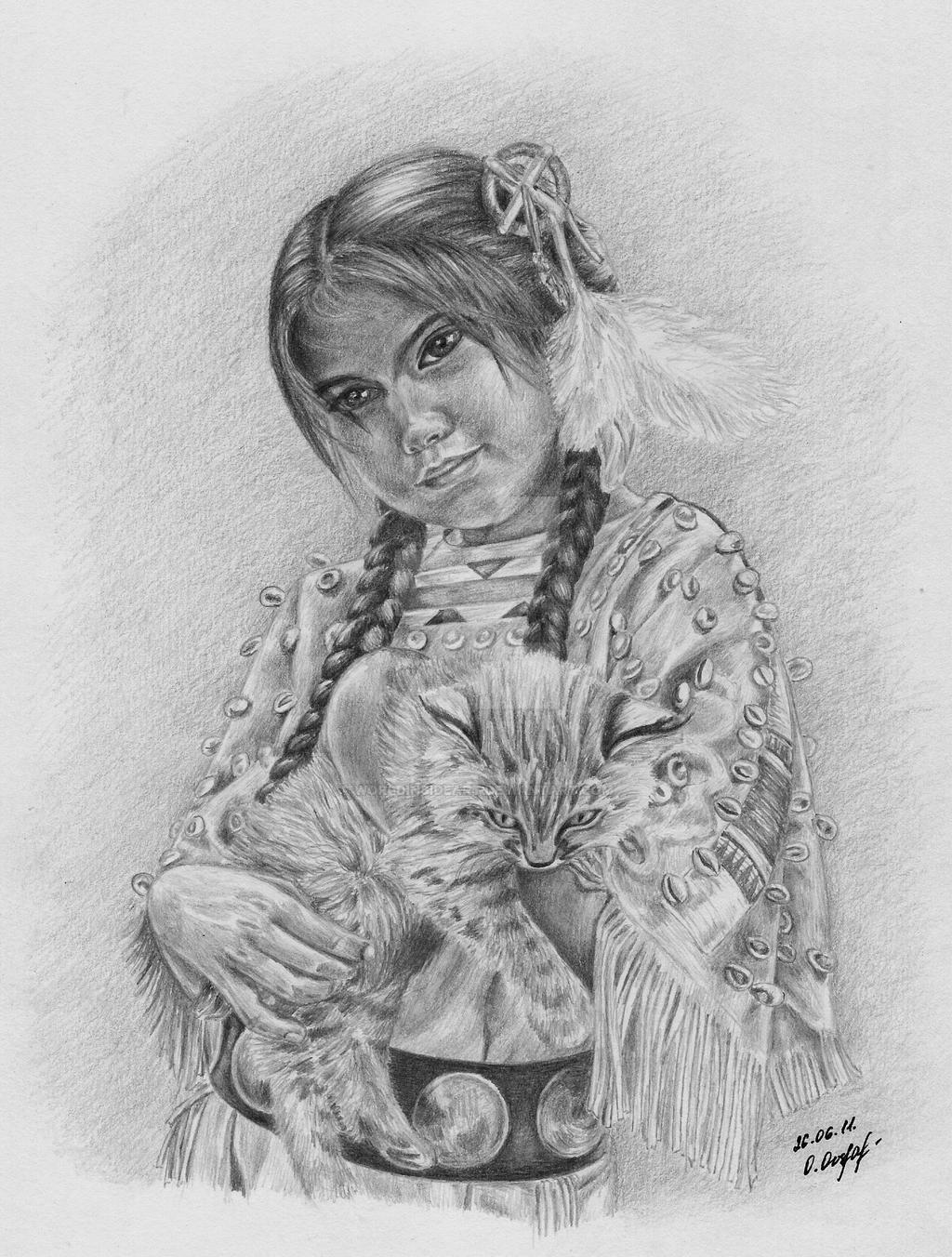 Native American girl by Worldinsideart on DeviantArt