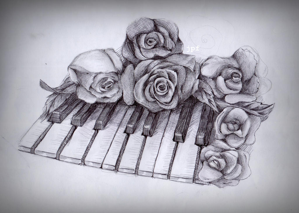 Traditional Flower Line Drawing : Flowers and piano by chocoaisucream on deviantart
