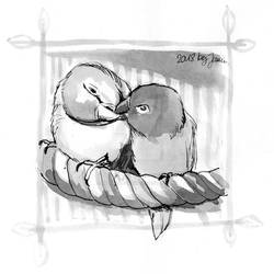 Lovebirds - Inktober2018 Day 28: Gift