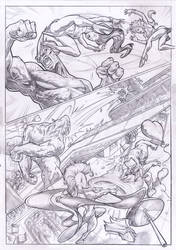 X-MEN STORM teams-up SPIDER-WOMAN vs. RHINO page 2 by PabloAlcaldeFdez