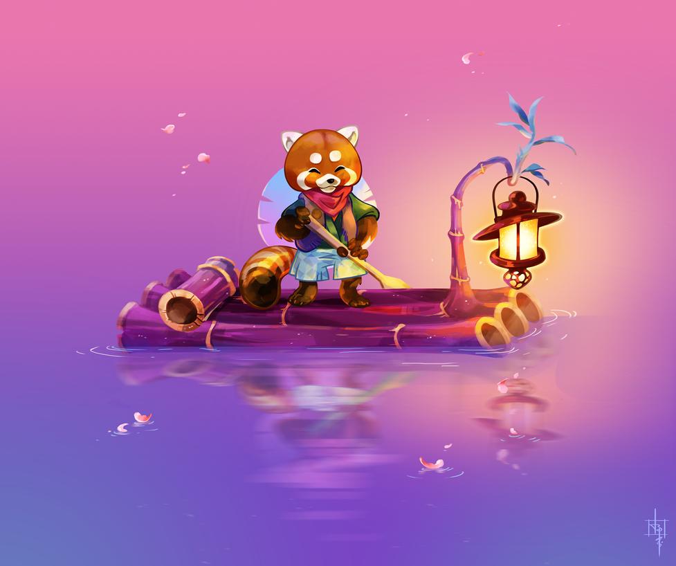 Red_Panda_Fishing by Clovernight