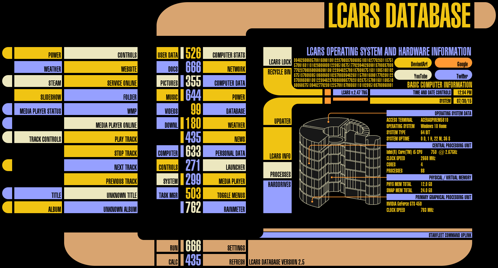 LCARS for Rainmeter v2.5 (WiP) by Jefson on DeviantArt
