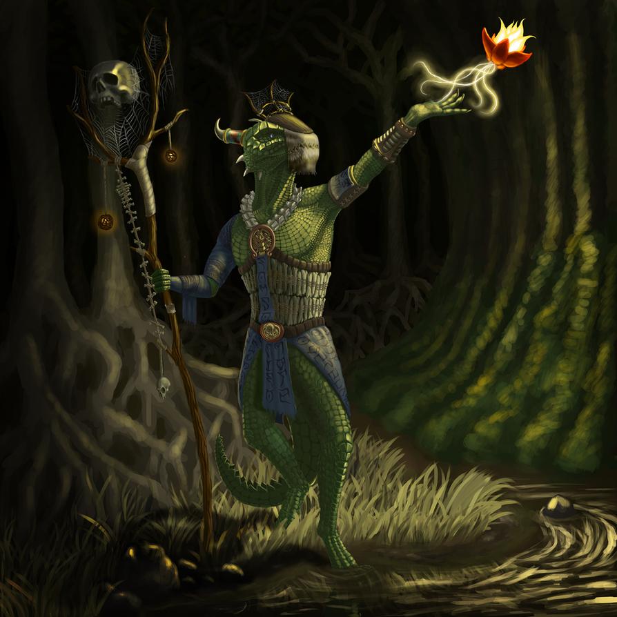 Argonian priest by Palepaw
