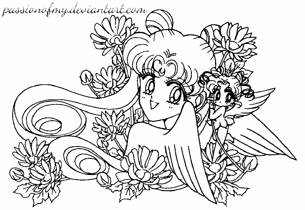 Lineart Sailor Moon And Chibichibi Passionofmy By