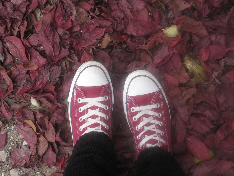 wine-red chucks on wine-red ground by CaramelTheCake