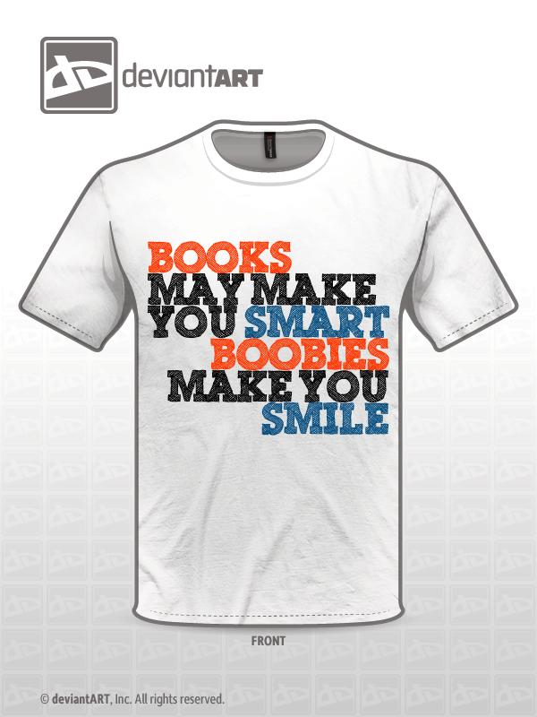 Books VS Boobs White T-Shirt V2.0 by razvan1991