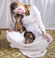 Girl With Puppies Stock 02 by Gracies-Stock