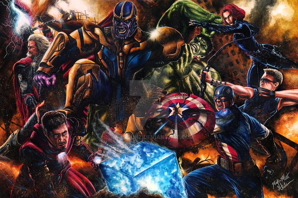 The Avengers VS Thanos by Glebe