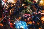 The Avengers VS Thanos by Glebe