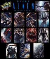 Alien Sketch Cards by Glebe