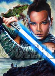 Last Jedi Rey Star Wars Galaxy Base Art by Glebe by Twynsunz