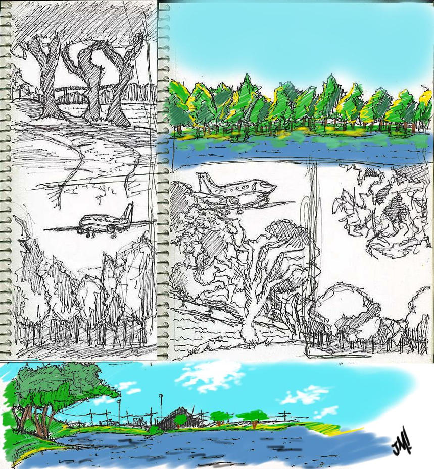 Lake Sketches by Jose-Miranda