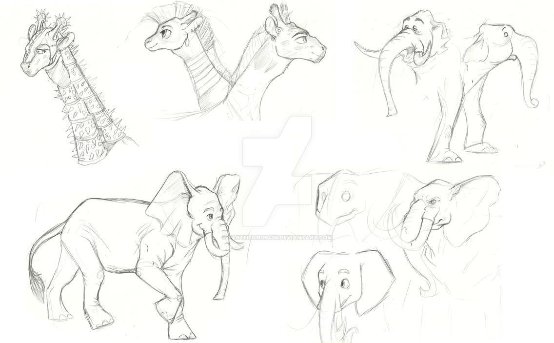 mlp test sketches elephants and giraffes by earthsong9405 on