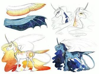 AU Sketchdump- Celestia and Luna by Earthsong9405