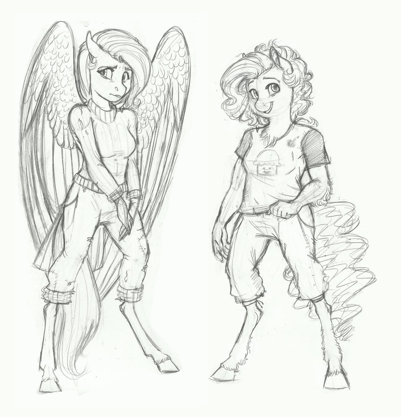 Zombie AU Doodle- Fluttershy and Pinkie Pie