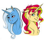 Doodle- Sunset Shimmer and Trixie