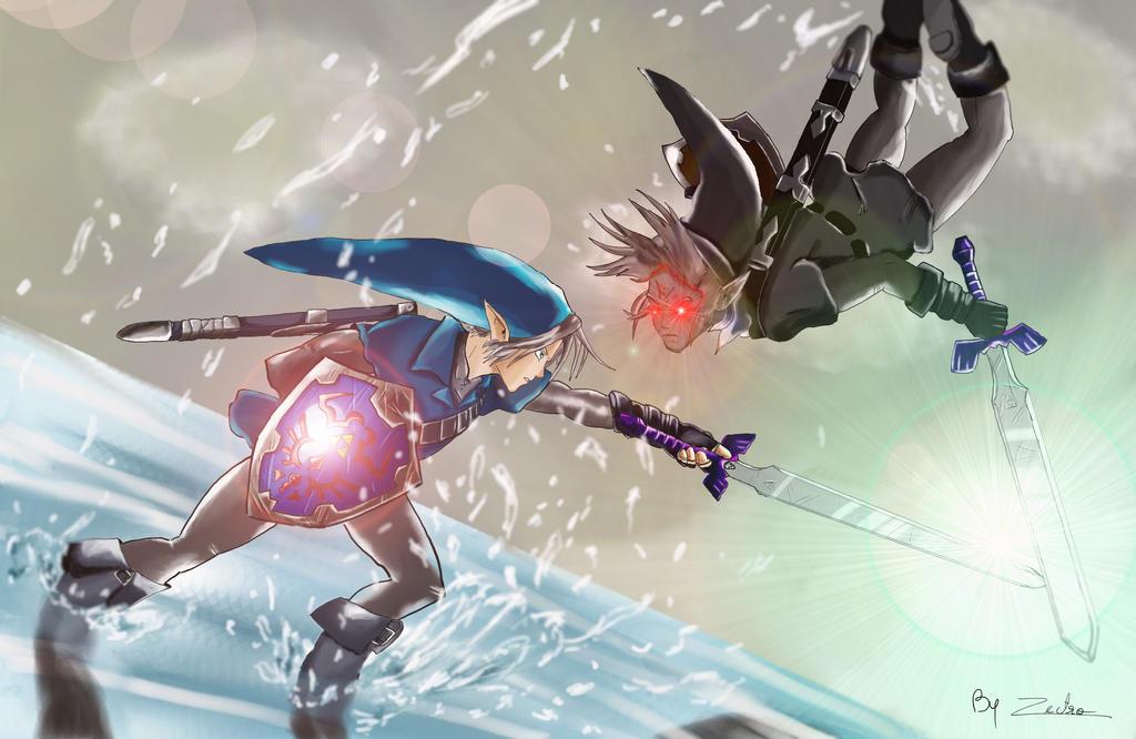 Legend Of Zelda Dark Link Vs Link Link Vs Dark Link by Z...