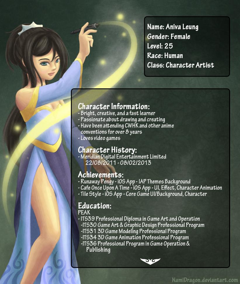 game artist resume v2 page 1 by namidragon on deviantart