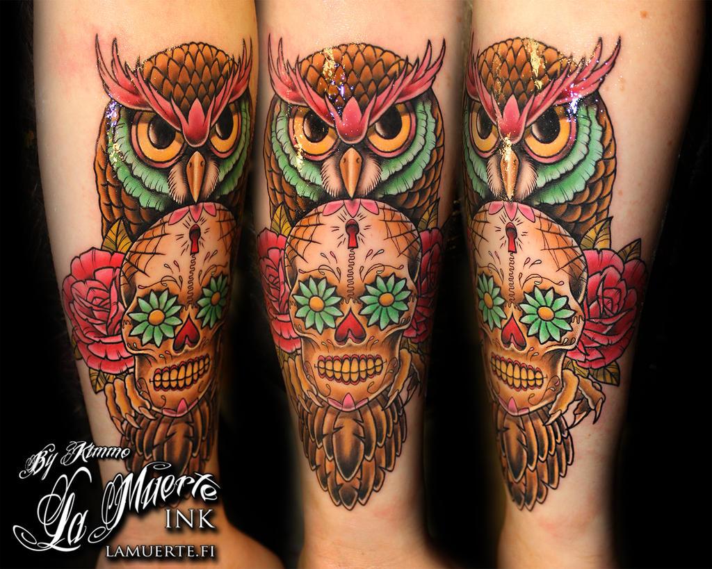 Sugar Skull Tattoos on Forearm Owl Skull Tattoo Forearm