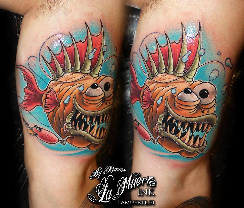 Piranha skeleton tattoo - photo#50