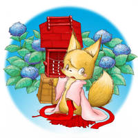 fox with hydrangea by enorapi
