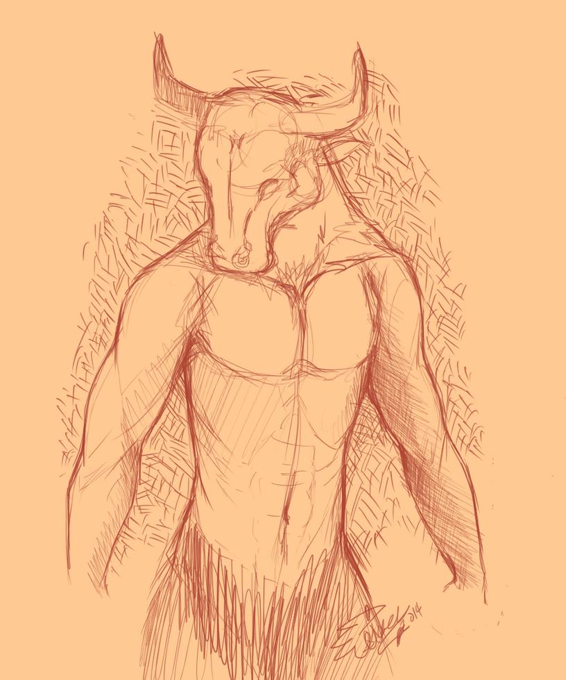 Random Minataur Sketch by dragontechtigerchaos