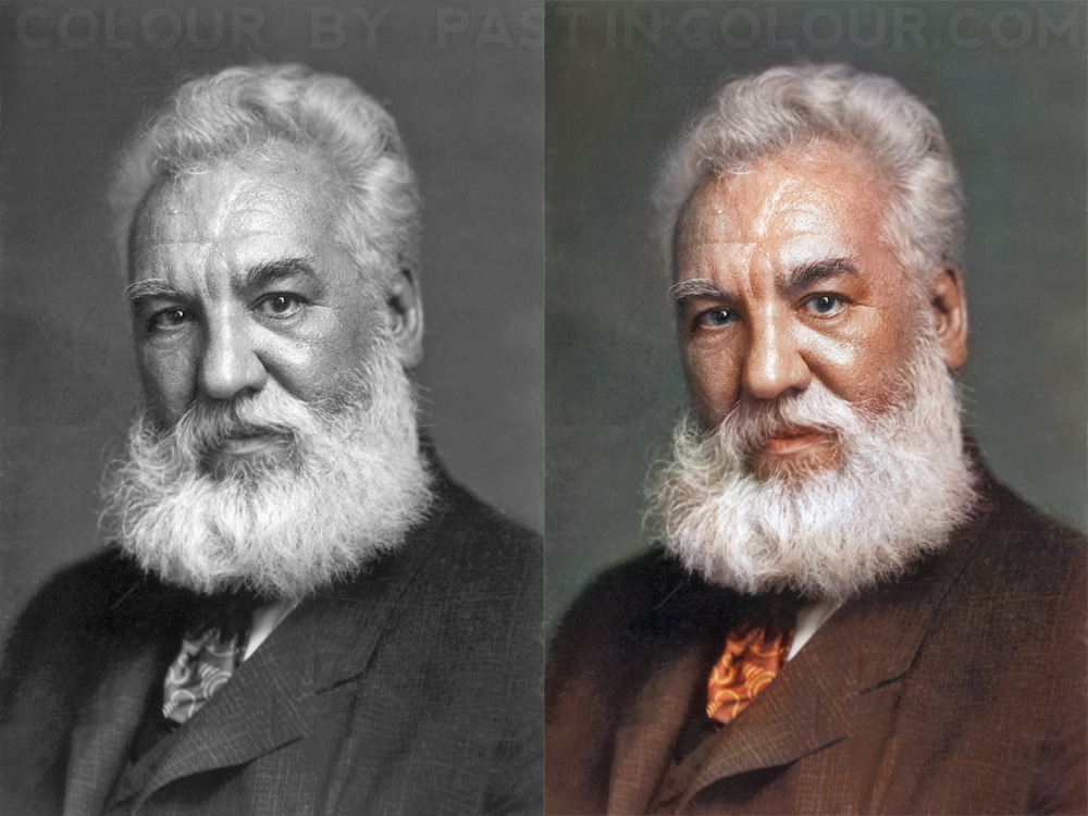 Alexander Graham Bell Colourized by Mygrapefruit