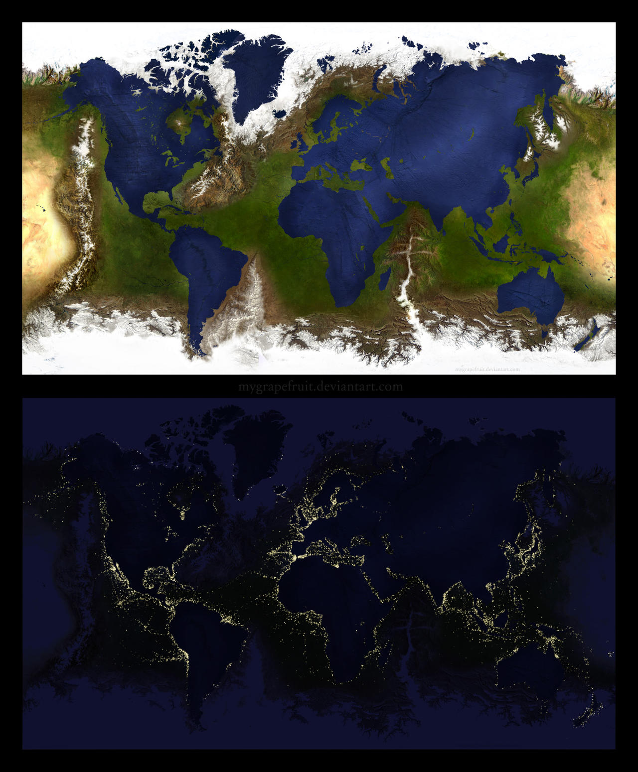 Inverted Earth / Day and Night by Mygrapefruit on DeviantArt
