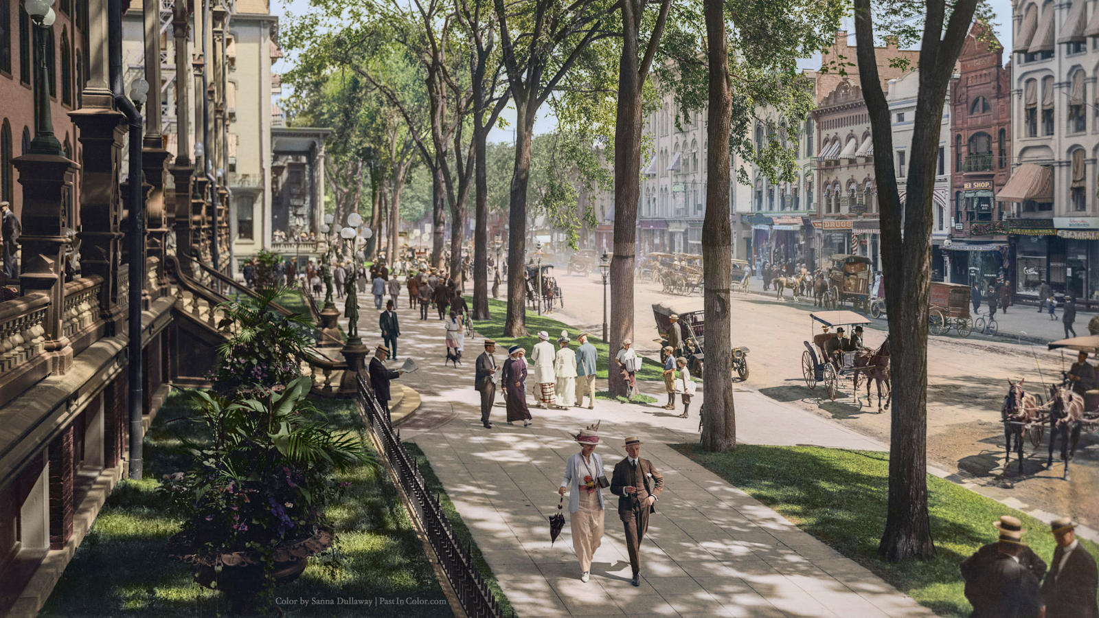 Broadway in saratoga springs new york ca 1915 by for New hotels in saratoga springs ny