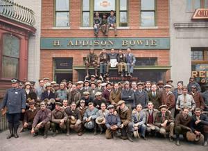 Harley Davidson shop + gang 1925 colorized