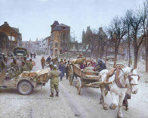Refugees evacuating the Belgian town of Bastogne