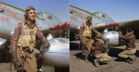 Edward Gleed + two other Tuskegee airmen Colorized