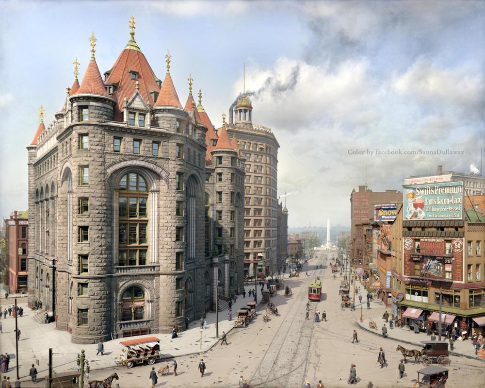 Niagara Street, Buffalo, 1908 Colorized by Mygrapefruit
