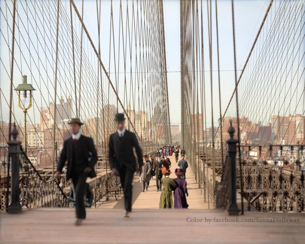 Brooklyn Bridge, New York, 1905 Colorized by Mygrapefruit