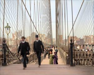 Brooklyn Bridge, New York, 1905 Colorized