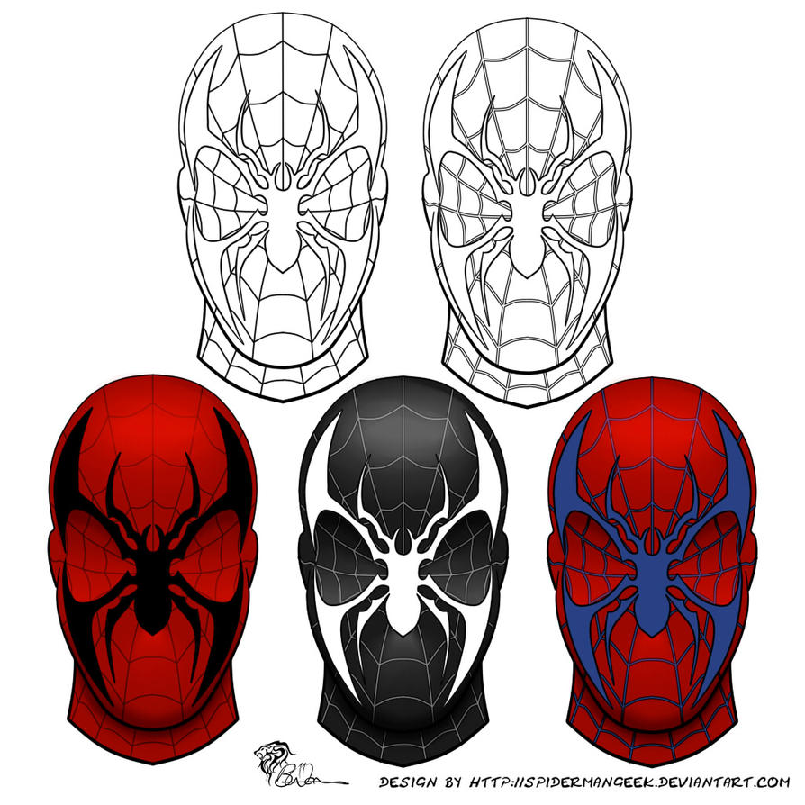 SpiderManGeek Mask Design Variations by eiledon on DeviantArt
