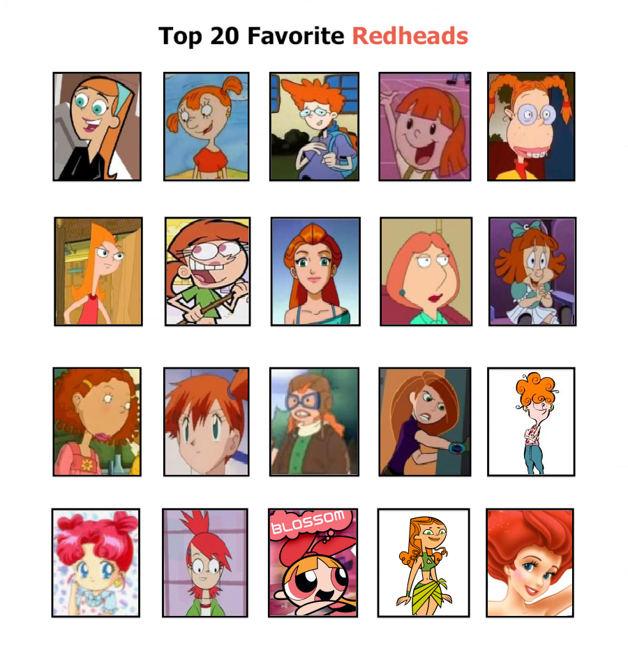 Red Headed Cartoon Characters Female S : My top favorite redheads by princessbeautiful on deviantart