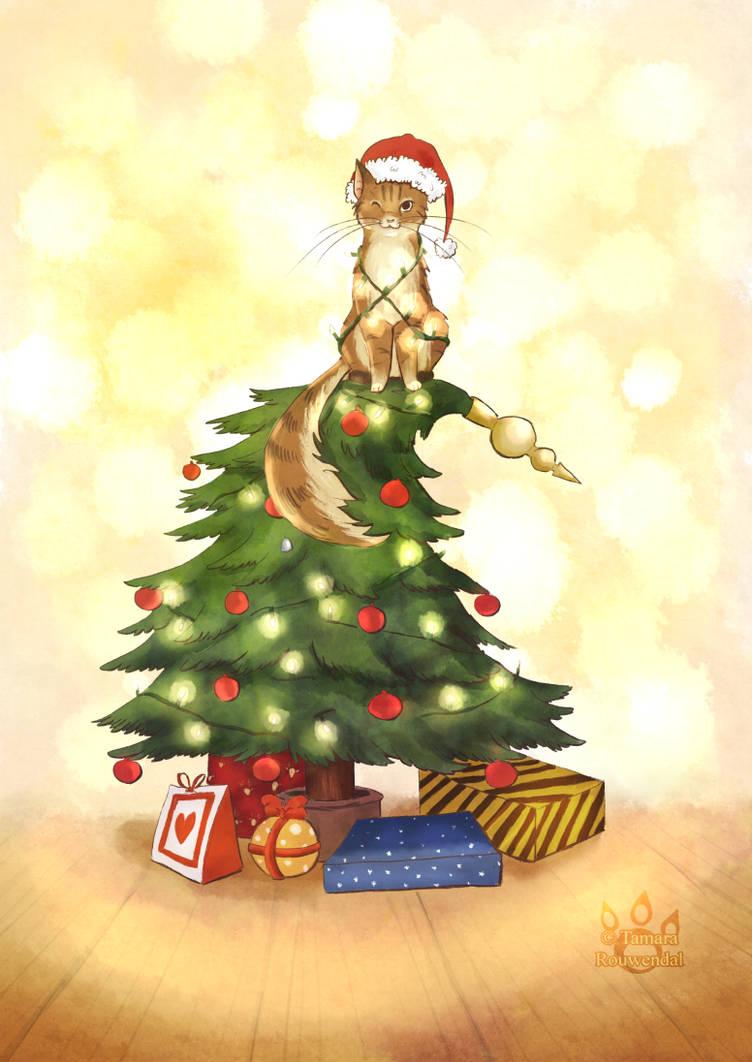 Merry Christmas 2016 cat by tamaraR