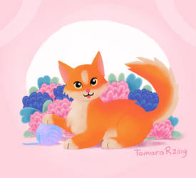 Flowery kitten by tamaraR