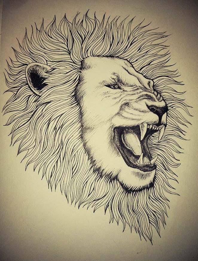 Roaring Lion Tattoo by InaAmani