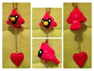 Cardinal and Heart Charm by Jade-Sage08