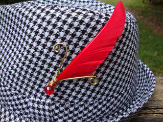 Red Knave Hat pin by alchemymeg