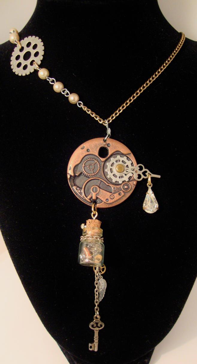 Time in a bottle eleganza steampunk necklace by alchemymeg