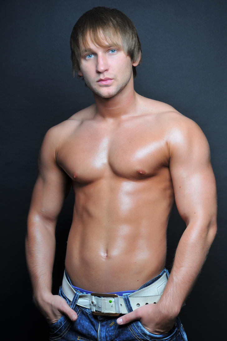Portrait Handsome Young Man Great Physique Stock Photo