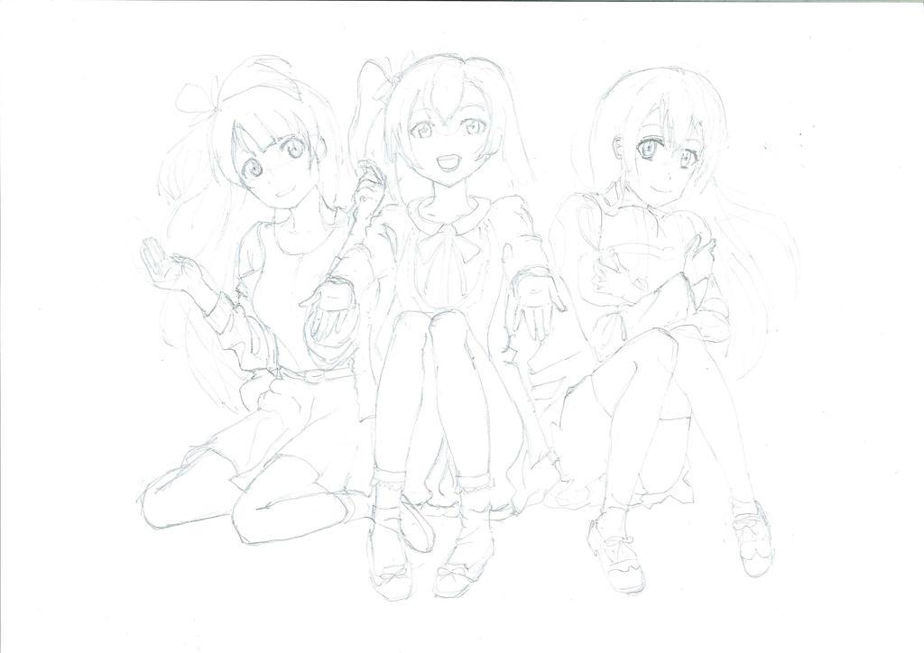 Love Live! Kotori Honoka Umi (pencil sketch)