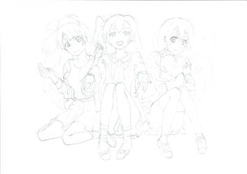 Love Live! Kotori Honoka Umi (pencil sketch) by weiwere